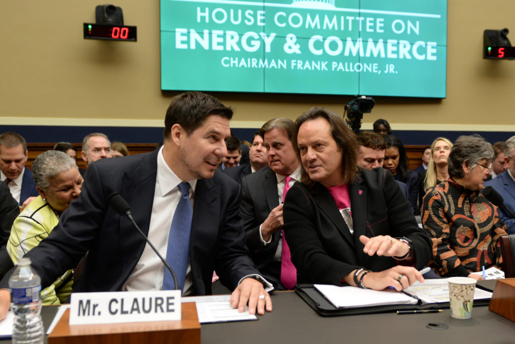 Sprint Executive Chairman Marcelo Claure and T-Mobile US CEO John Legere testify before a U.S. House Committee on Energy and Commerce Subcommittee hearing in Washington, U.S. February 13, 2019. Photo by Erin Scott/Reuters