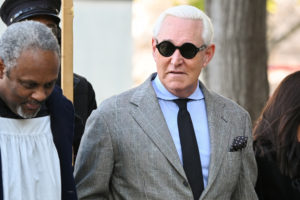 Former Trump campaign adviser Roger Stone, joined by other witnesses, arrives for his criminal trial on charges of lying to Congress, obstructing official proceeding and witness tampering at the U.S. District court in Washington, on November 14, 2019. Photo by Erin Scott/Reuters