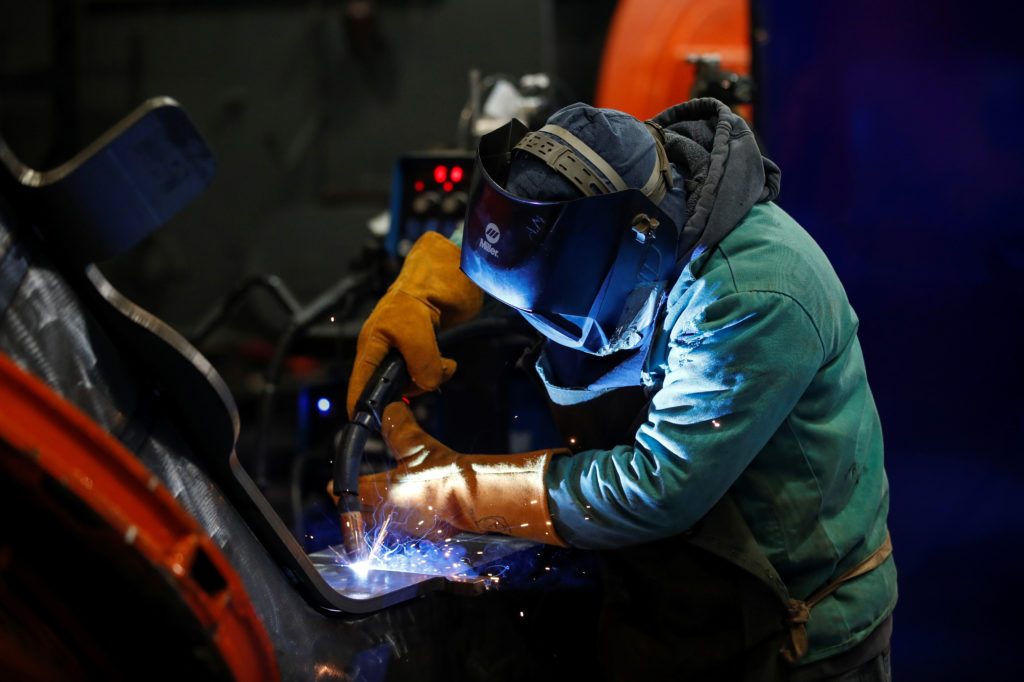A LB Steel LLC's employee manufactures a component for new Amtrak Acela trains built in partnership with Alstom in Harvey, Illinois, U.S. December 4, 2019. Photo by Kamil Krzaczynski/Reuters