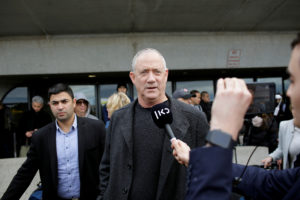 Israel's centrist party leader Benny Gantz speaks to reporters as he arrives on a flight via Zurich ahead of his meeting with U.S. President Donald Trump, at Dulles International Airport near Washington, on January 26, 2020. Photo by Joshua Lott/Reuters