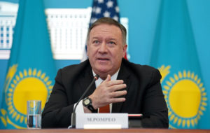 U.S. Secretary of State Mike Pompeo holds a joint news conference with Kazakh Foreign Minister Mukhtar Tleuberdi at the Ministry of Foreign Affairs in Nur-Sultan, Kazakhstan, February 2, 2020. Photo by Kevin Lamarque/Reuters