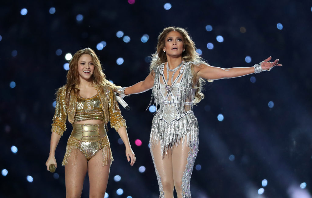 Jennifer Lopez and Shakira perform during the halftime show of Super Bowl LIV. Photo by Shannon Stapleton/Reuters
