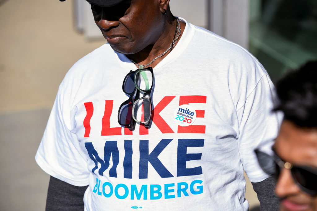 A t-shirt supporting Democratic presidential candidate Michael Bloomberg is seen at a Bloomberg campaign visit at the Dollarhide Community Center in Compton, California, U.S. February 3, 2020.  Photo by Andrew Cullen/Reuters