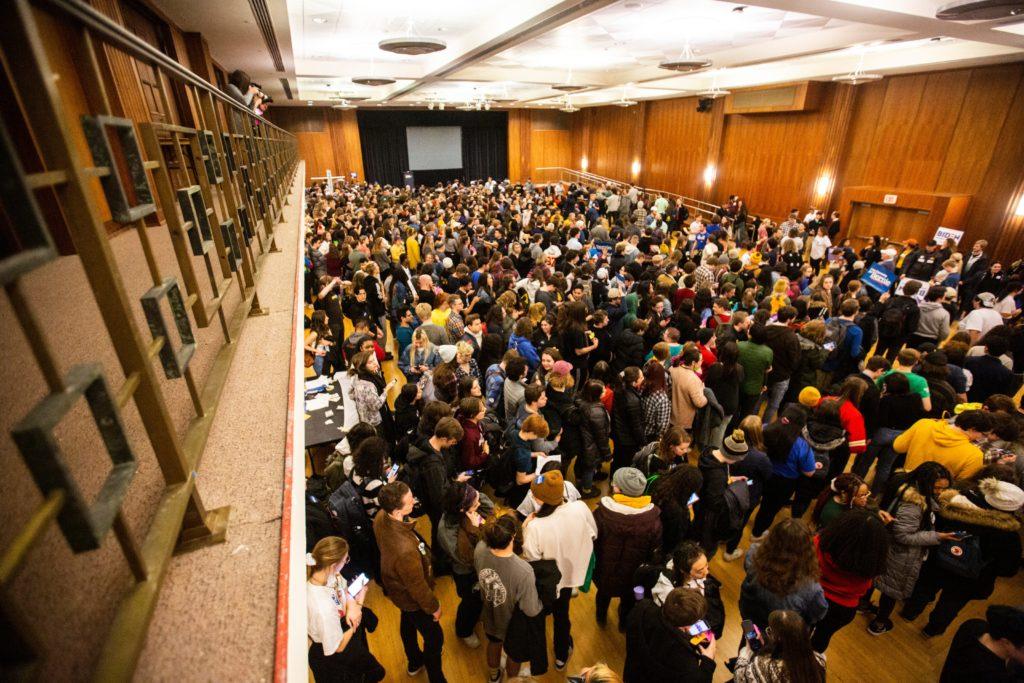 University of Iowa students caucus, Monday, Feb. 3, 2020, at the Io…