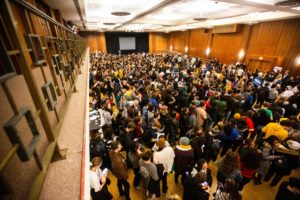 University of Iowa students caucus, Monday, Feb. 3, 2020, at the Iowa Memorial Union in Iowa City, Iowa.