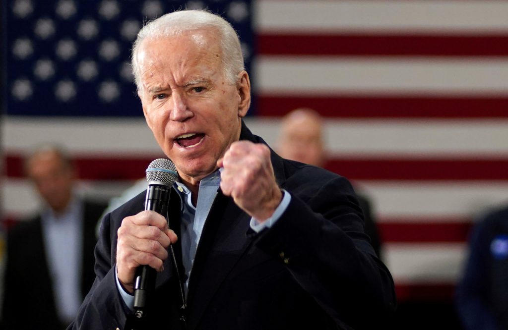 Democratic presidential candidate and former Vice President Joe Biden speaks at a campaign event in Nashua, New Hampshire,...