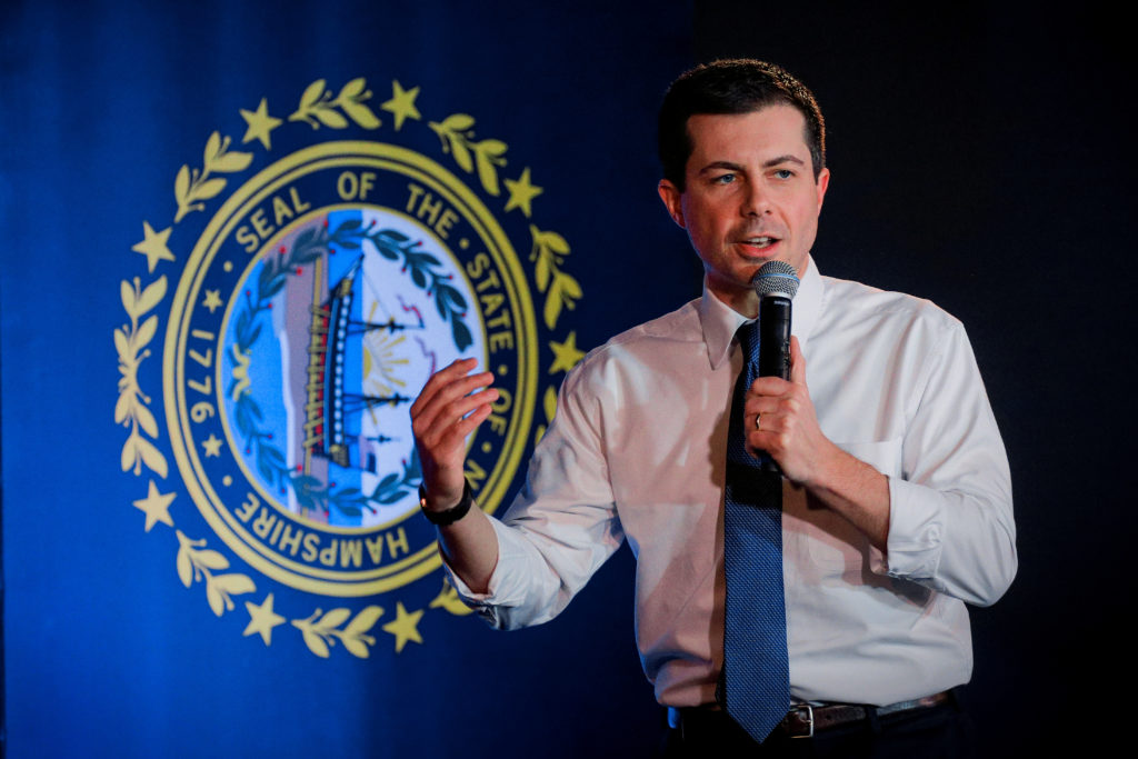 Democratic presidential candidate and former South Bend, Indiana mayor Pete Buttigieg speaks during a campaign stop in Por...