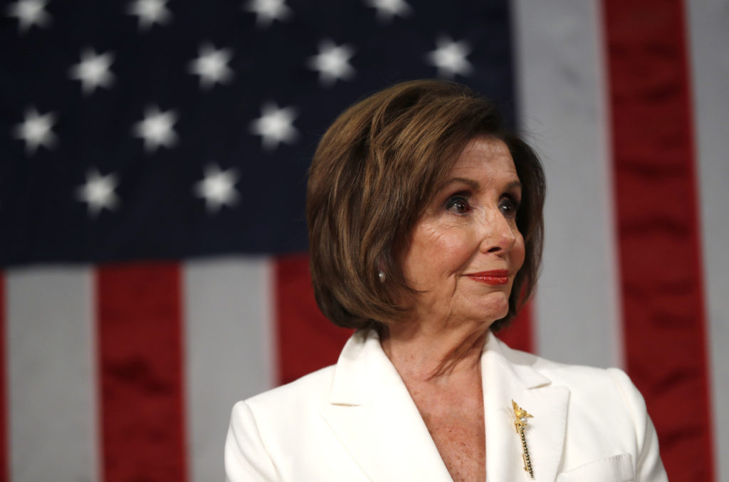Speaker of the House Nancy Pelosi waits for U.S. President Donald Trump to arrive to deliver his State of the Union addres...