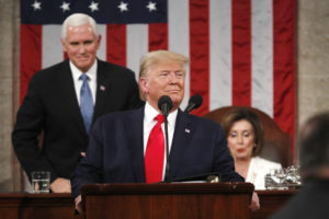 U.S. President Donald Trump begins to deliver his State of the Union address to a joint session of the U.S. Congress in the House Chamber of the U.S. Capitol in Washington, U.S. February 4, 2020. Photo by Leah Millis/POOL via Reuters
