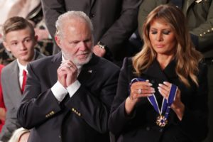 Conservative radio talk show host Rush Limbaugh reacts as he is awarded the Presidential Medal of Freedom by U.S. First Lady Melania Trump during U.S. President Donald Trump's State of the Union address to a joint session of the U.S. Congress in the House Chamber of the U.S. Capitol in Washington, U.S. February 4, 2020. REUTERS/Jonathan Ernst
