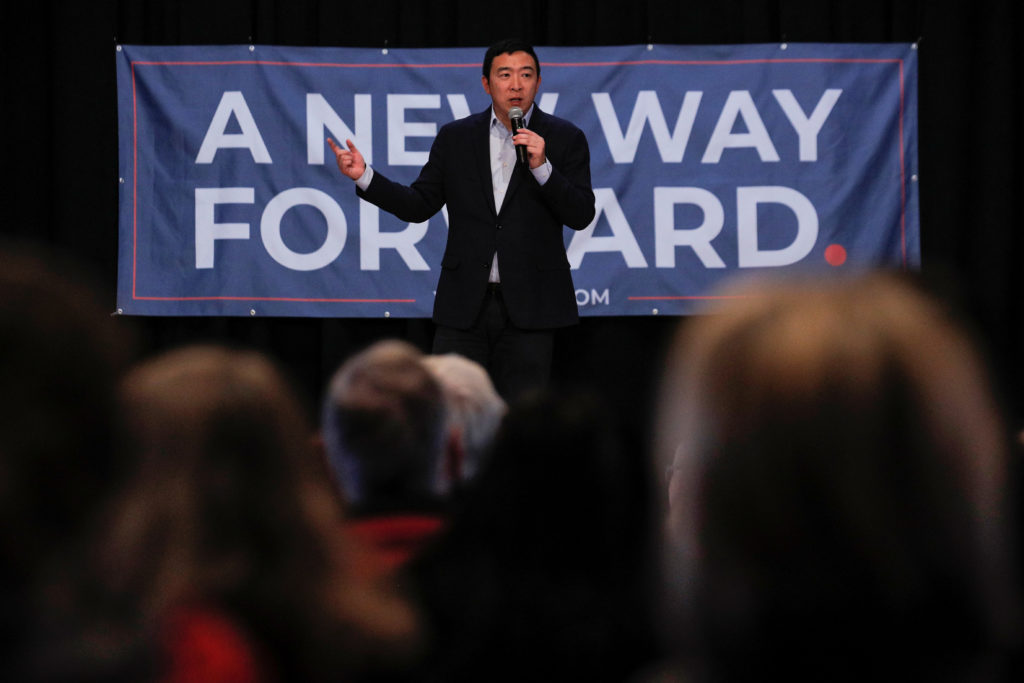Democratic 2020 U.S. presidential candidate and entrepreneur Andrew Yang speaks during a campaign event in Milford, New Hampshire, U.S., February 5, 2020.  Photo by Brendan McDermid/Reuters
