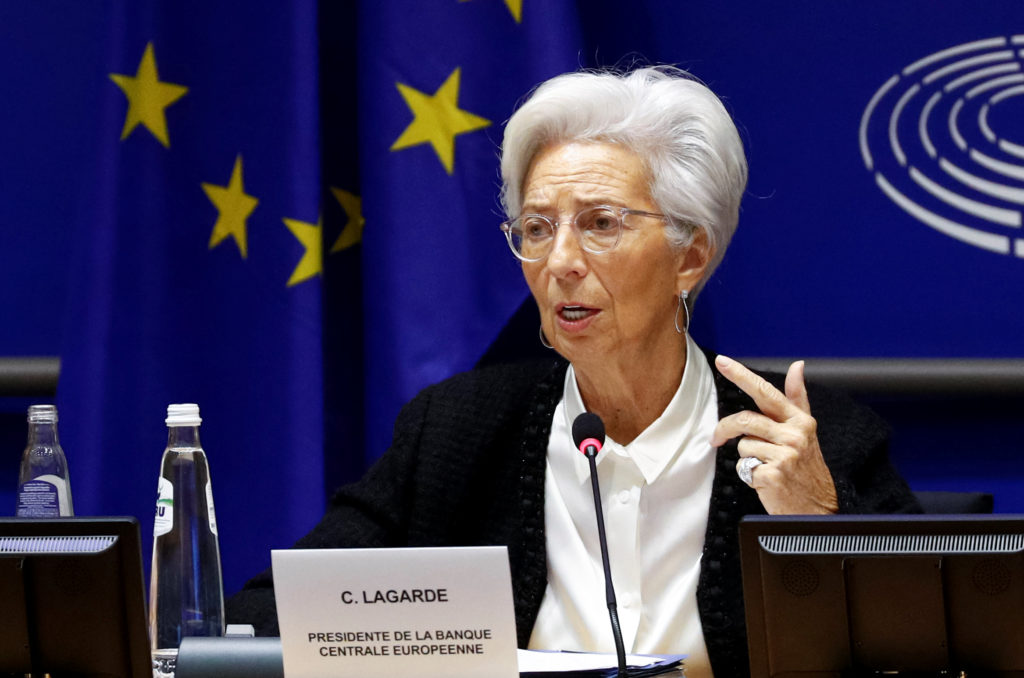 European Central Bank President Christine Lagarde testifies before the European Parliament's Economic and Monetary Affairs Committee in Brussels, Belgium February 6, 2020. Photo by Francois Lenoir/Reuters