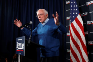 Democratic U.S. presidential candidate Senator Bernie Sanders speaks at a news conference in Manchester, New Hampshire, U.S., February 6, 2020. Photo by Mike Segar/Reuters