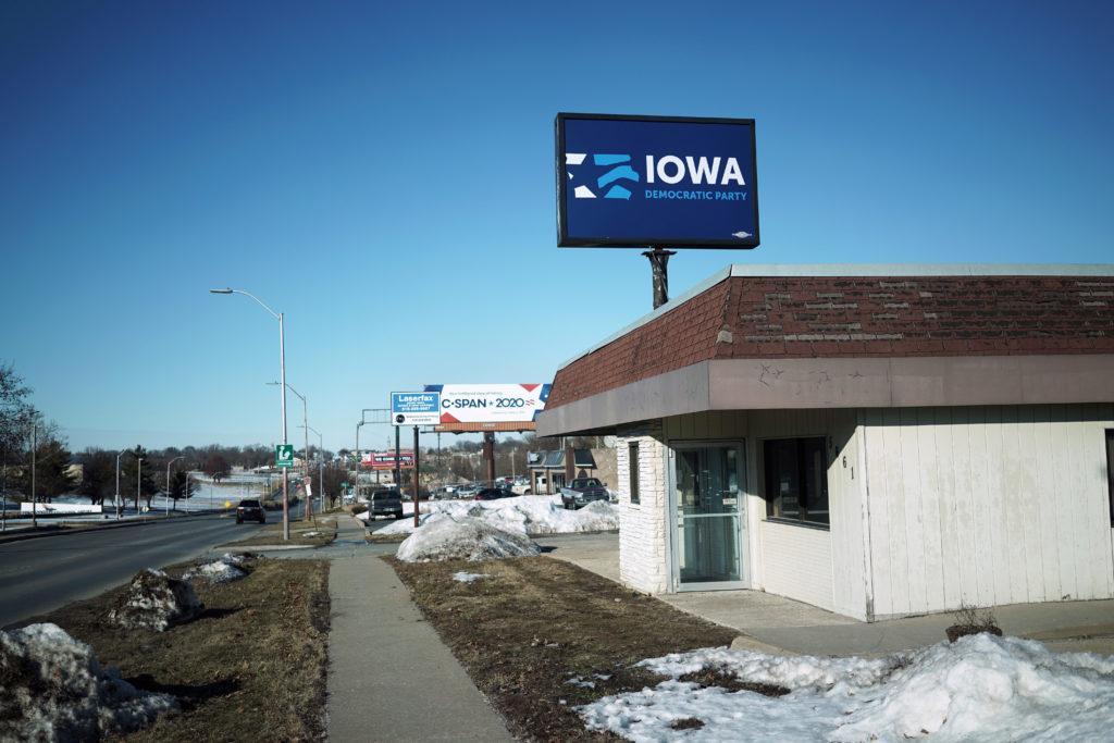 A sign designates the headquarters of the Iowa Democratic Party in …
