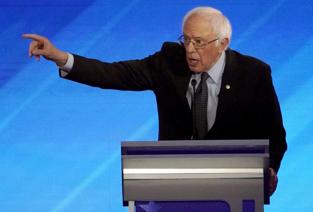 Democratic 2020 U.S. presidential candidate Senator Bernie Sanders speaks during the eighth Democratic 2020 presidential d...
