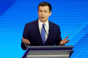 Former South Bend Mayor Pete Buttigieg participates in the eighth Democratic 2020 presidential debate at Saint Anselm College in Manchester, New Hampshire, U.S., February 7, 2020. Photo by Brian Snyder/Reuters