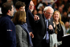 Democratic U.S. presidential candidate Senator Bernie Sanders speaks as he stands with his family during a campaign rally in Keene, New Hampshire, U.S., February 9, 2020. Photo by Mike Segar/Reuters