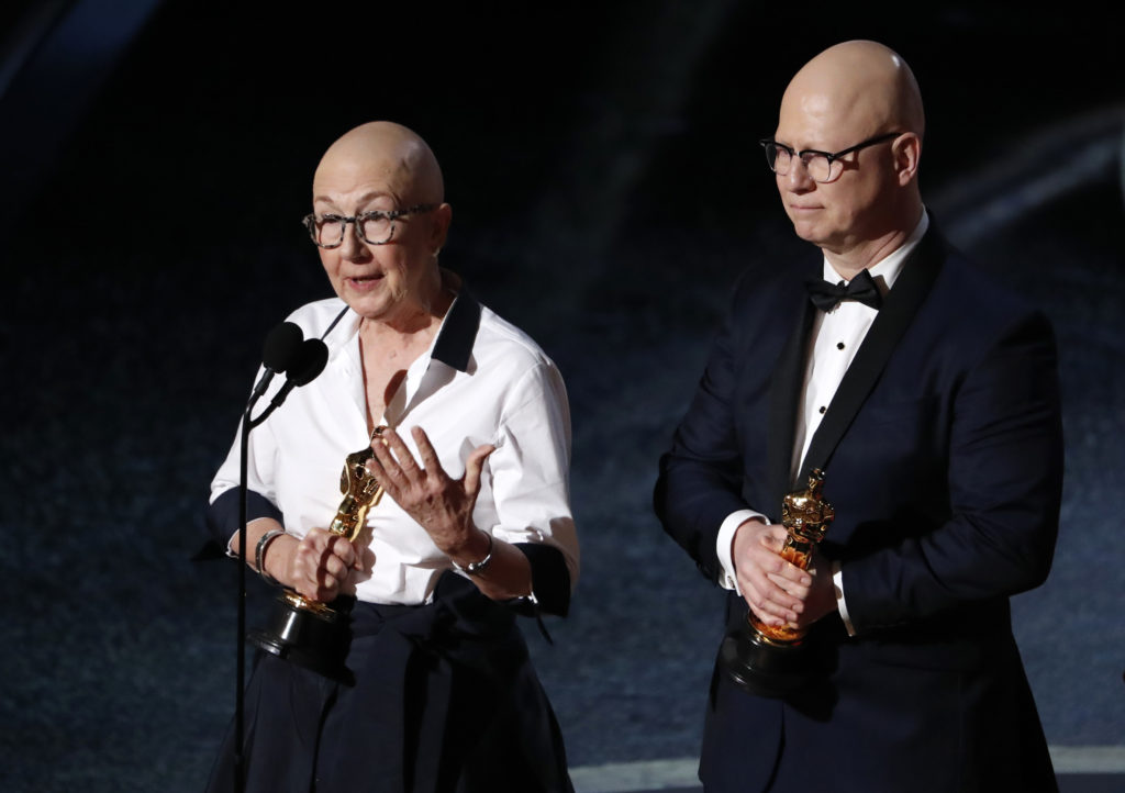 "Steven Bognar and Julia Reichert accept the Oscar for Best Documentary Feature for ""American Factory"" at the 92nd Academy Awards in Hollywood, Los Angeles, California. Photo by Mario Anzuoni/Reuters"