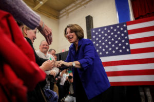 Democratic 2020 U.S. presidential candidate Senator Amy Klobuchar is greeted by supporters during a campaign event in Salem, New Hampshire, U.S., February 9, 2020. Photo by Brendan McDermid/Reuters