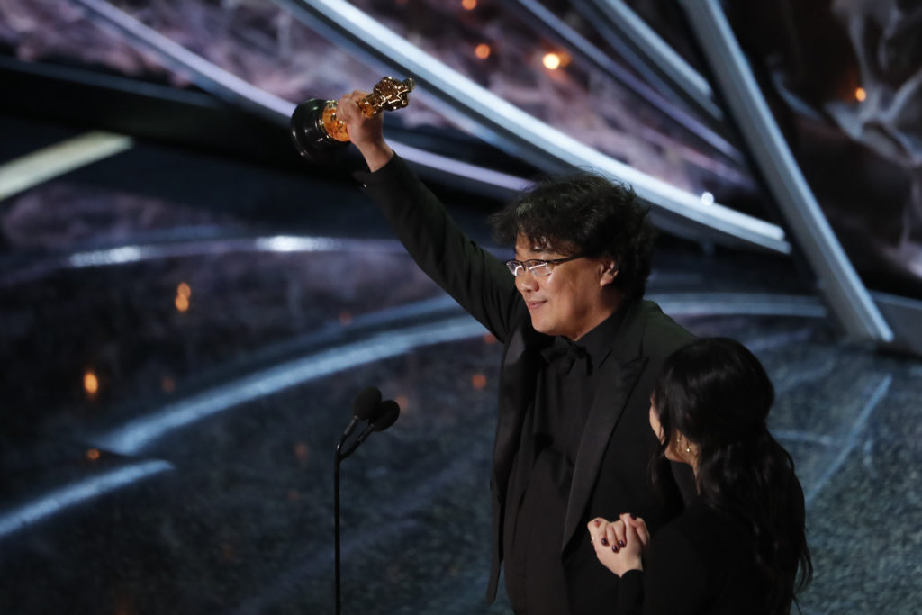 "Director Bong Joon-ho accepts the Oscar for Best Foreign Language Film for ""Parasite"" of South Korea at the 92nd Academy Awards in Hollywood, Los Angeles. Photo by Mario Anzuoni/Reuters"
