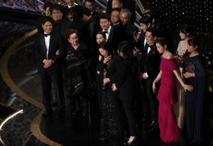 "Kwak Sin Ae and Bong Joon-ho win the Oscar for Best Picture for ""Parasite"" at the 92nd Academy Awards in Hollywood, Los Angeles, California. Photo by Mario Anzuoni/Reuters"
