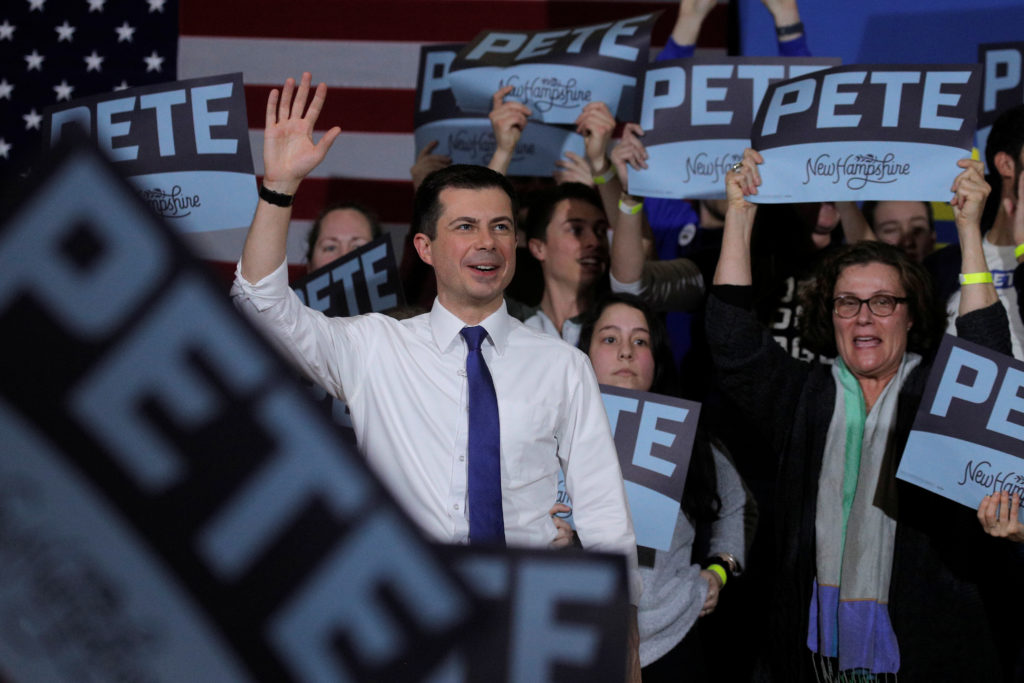 Democratic presidential candidate and former South Bend, Indiana mayor Pete Buttigieg, speaks during a campaign event at K...