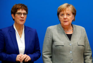 Outgoing leader of the Christian Democratic Union (CDU) Annegret Kramp-Karrenbauer and Germany's Chancellor Angela Merkel arrive for a board meeting at the party's headquarters in Berlin, Germany February 10, 2020. Photo by Hannibal Hanschke/Reuters