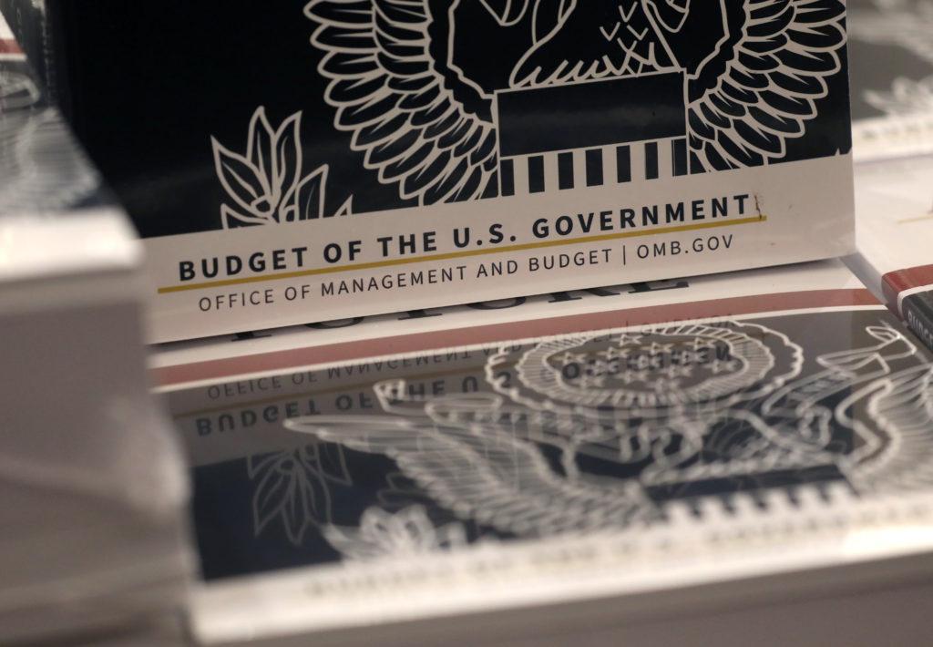 Copies of U.S. President Donald Trump's FY2021 budget proposal sit …