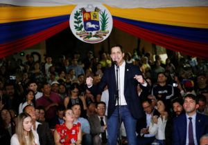 Venezuela's opposition leader Juan Guaido, who many nations have recognized as the country's rightful interim ruler, speaks at a gathering in Caracas, Venezuela February 11, 2020. Photo by Manaure Quintero/Reuters