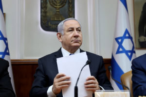 Israeli Prime Minister Benjamin Netanyahu attends the weekly cabinet meeting in Jerusalem on February 16, 2020. Photo by Gali Tibbon/Pool via REUTERS