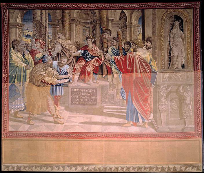 "Tapestry ""The blinding of Elymas."" Photo courtesy of Governatorato SCV/Direzione dei Musei via Reuters"