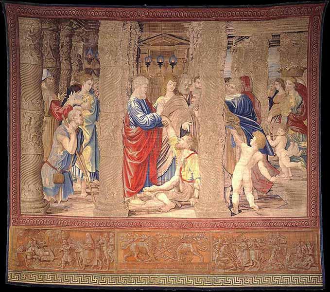 """Tapestry """"The healing of the lame man."""" Photo courtesy of Governatorato SCV/Direzione dei Musei via Reuters"""