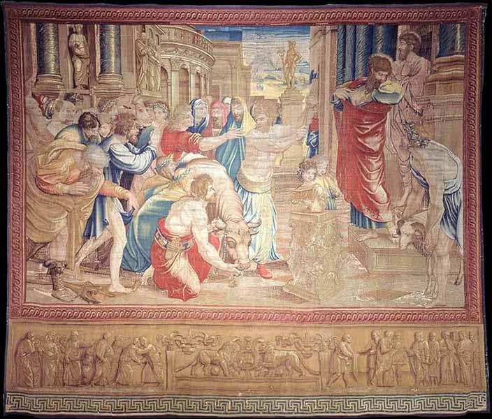 """Tapestry """"The sacrifice of Lystra."""" Photo courtesy of Governatorato SCV/Direzione dei Musei via Reuters"""
