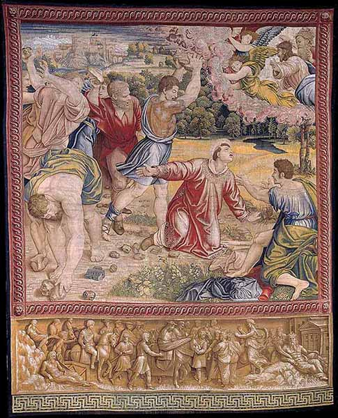 "Tapestry ""The stoning of Stephen."" Photo courtesy of Governatorato SCV/Direzione dei Musei via Reuters"