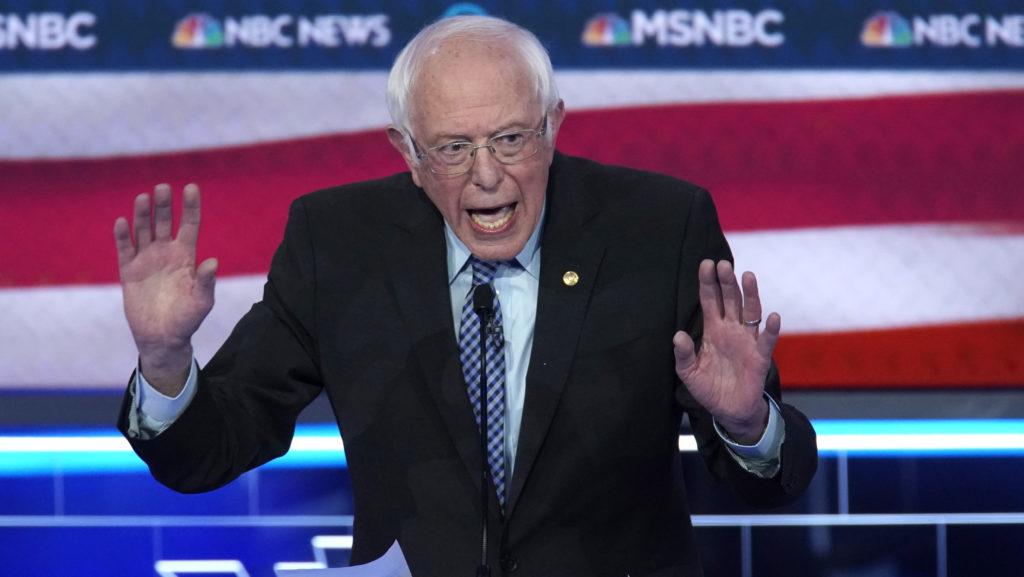 Senator Bernie Sanders speaks during the ninth Democratic 2020 U.S.…