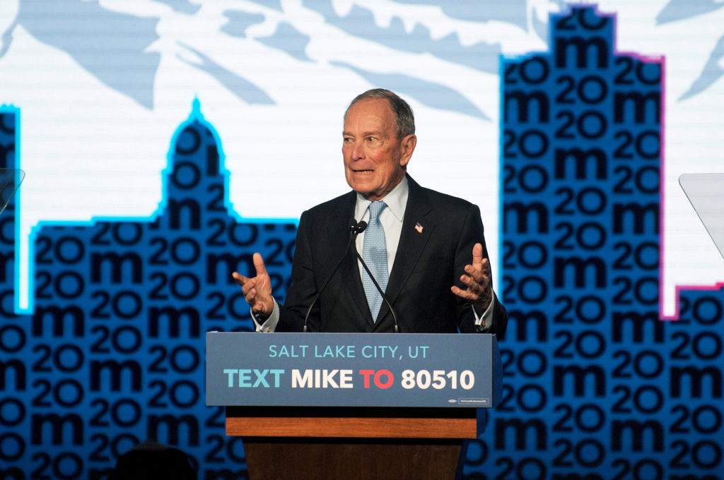 Democratic presidential candidate Mike Bloomberg holds a campaign rally in Salt Lake City, Utah, U.S., February 20, 2020. ...