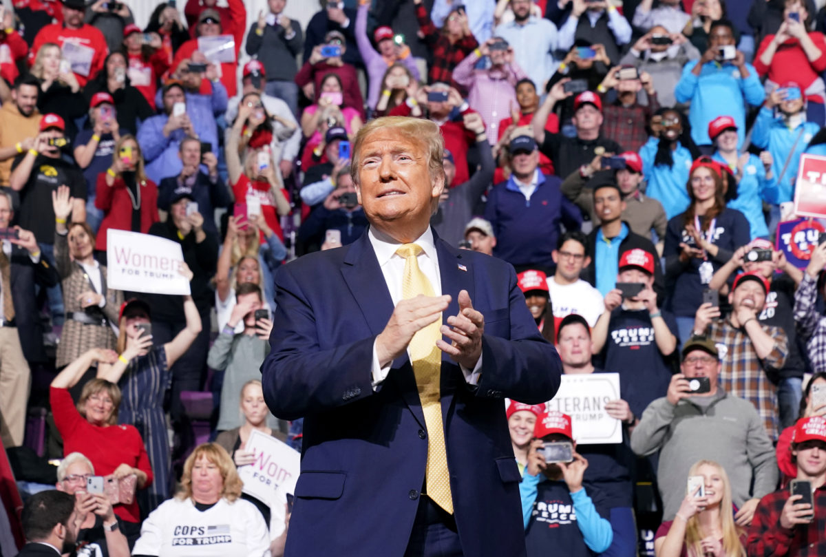 U.S. President Donald Trump holds a campaign rally in Colorado Springs, Colorado, February 20, 2020. Photo by Kevin Lamarque/Reuters