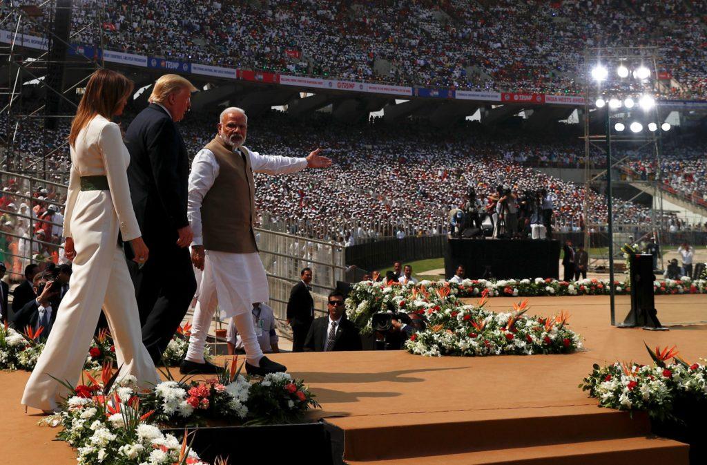 U.S. President Donald Trump, first lady Melania Trump and Indian Pr…