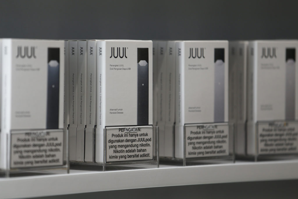 Juul brand vaping pens are displayed for sale at a Juul shop in Jakarta, Indonesia, December 30, 2019. Picture taken December 30, 2019. Photo by Ajeng Dinar Ulfiana/Reuters