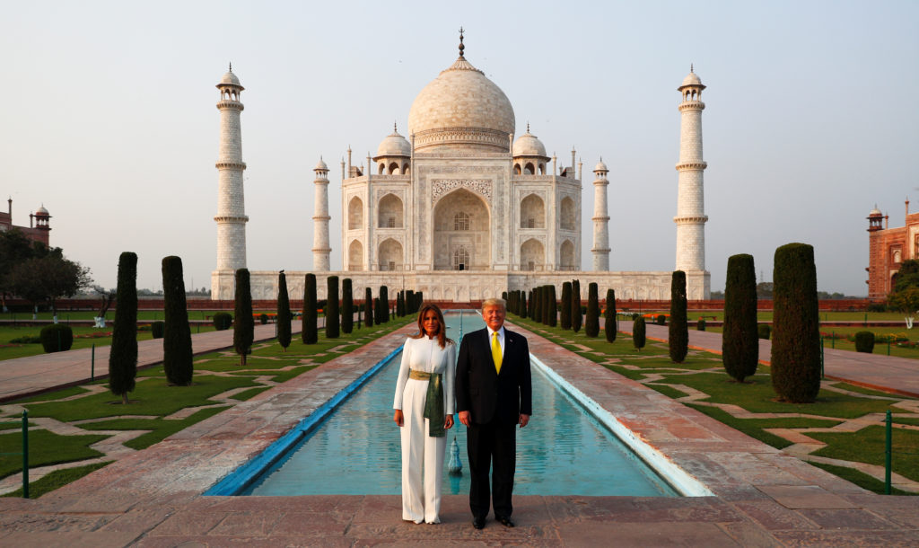 U.S. President Donald Trump and first lady Melania Trump pose as they tour the historic Taj Mahal, in Agra, India, February 24, 2020. Photo by Al Drago/Reuters