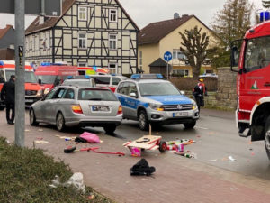 People react at the scene after a car ploughed into a carnival parade injuring several people in Volkmarsen, Germany February 24, 2020. PHoto by Elmar Schulten/Waldeckische Landeszeitung via Reuters
