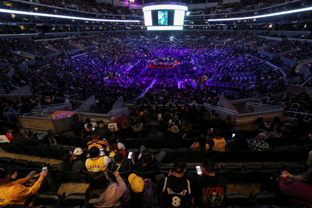 People attend a public memorial for NBA great Kobe Bryant, his daughter Gianna and seven others killed in a helicopter crash on January 26, at the Staples Center in Los Angeles, California, U.S., February 24, 2020. Photo by Lucy Nicholson/Reuters