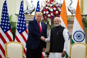 U.S. President Donald Trump and Indian Prime Minister Narendra Modi shake hands during a meeting at Hyderabad House in New Delhi, India, February 25, 2020. Photo by Al Drago/Reuters