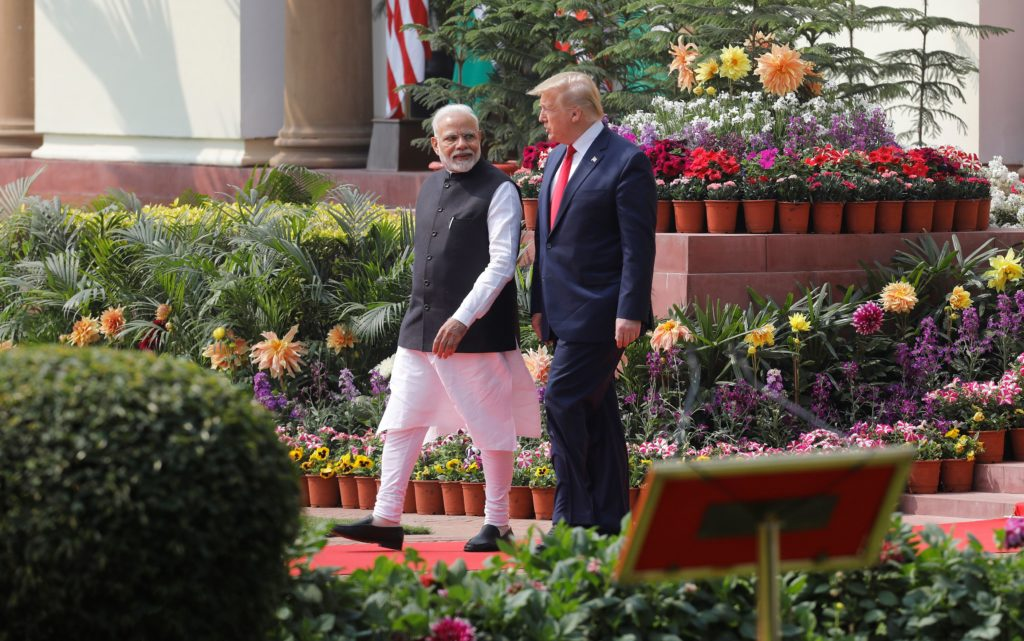 U.S. President Donald Trump and India's Prime Minister Narendra Modi arrive for their joint news conference at Hyderabad House in New Delhi, India, February 25, 2020. Photo by Adnan Abidi/Reuters