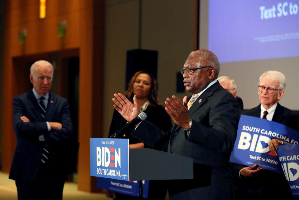 Rep. James Clyburn announces his endorsement of Democratic U.S. presidential candidate and former U.S. Vice President Joe Biden in North Charleston, South Carolina, U.S., February 26, 2020. REUTERS/Elizabeth Frantz