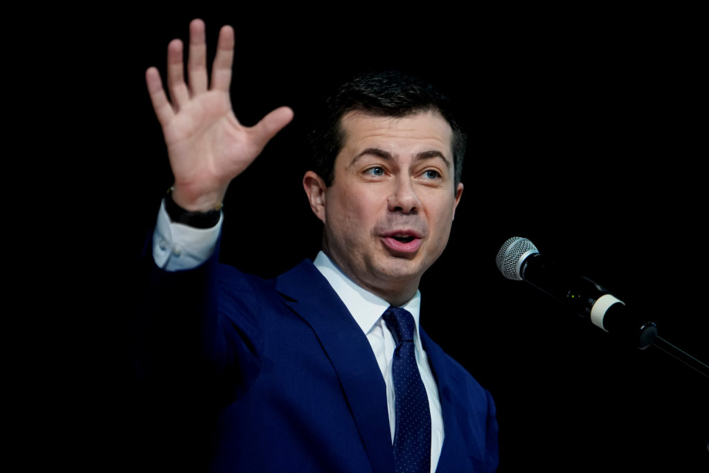 Democratic 2020 U.S. presidential candidate former South Bend, Indiana Mayor Pete Buttigieg attends the Ministers' Breakfa...