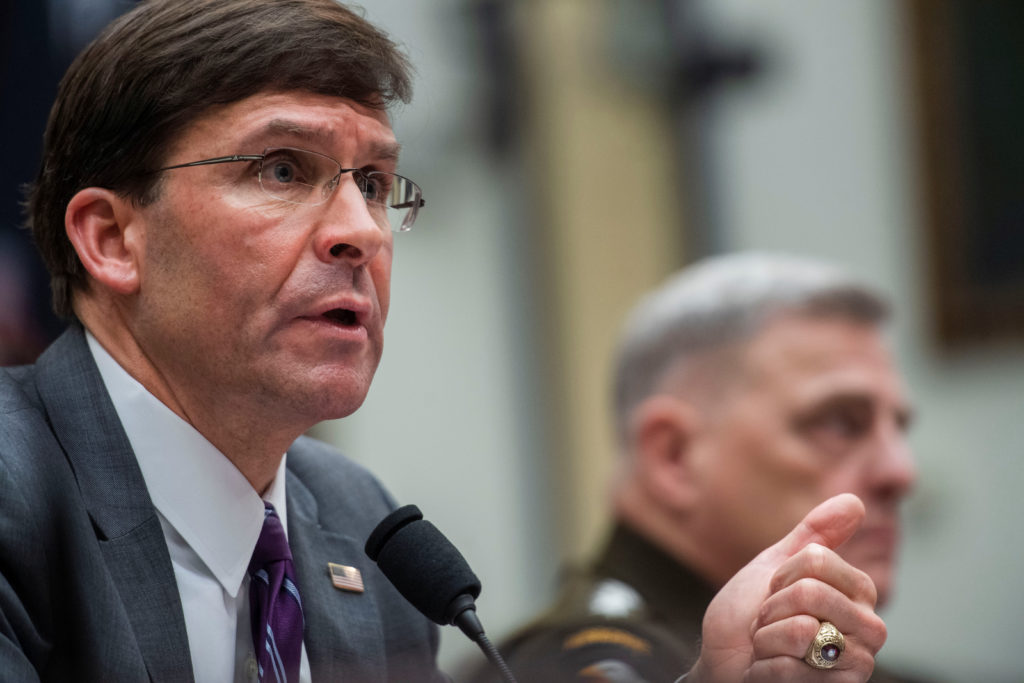 U.S. House Armed Services Committee receives testimony from Defense Secretary Mark Esper and Chairman of Joint Chiefs of Staff Gen. Mark Milley on Pentagon's fiscal year 2021 budget request in Washington, U.S., February 26, 2020. Photo by Amanda Voisard/Reuters