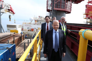 Lebanon's President Michel Aoun launches the oil exploration vessel in Block No. 4., north of Beirut, Lebanon on February 27, 2020. Photo by Dalati Nohra/Handout via Reuters