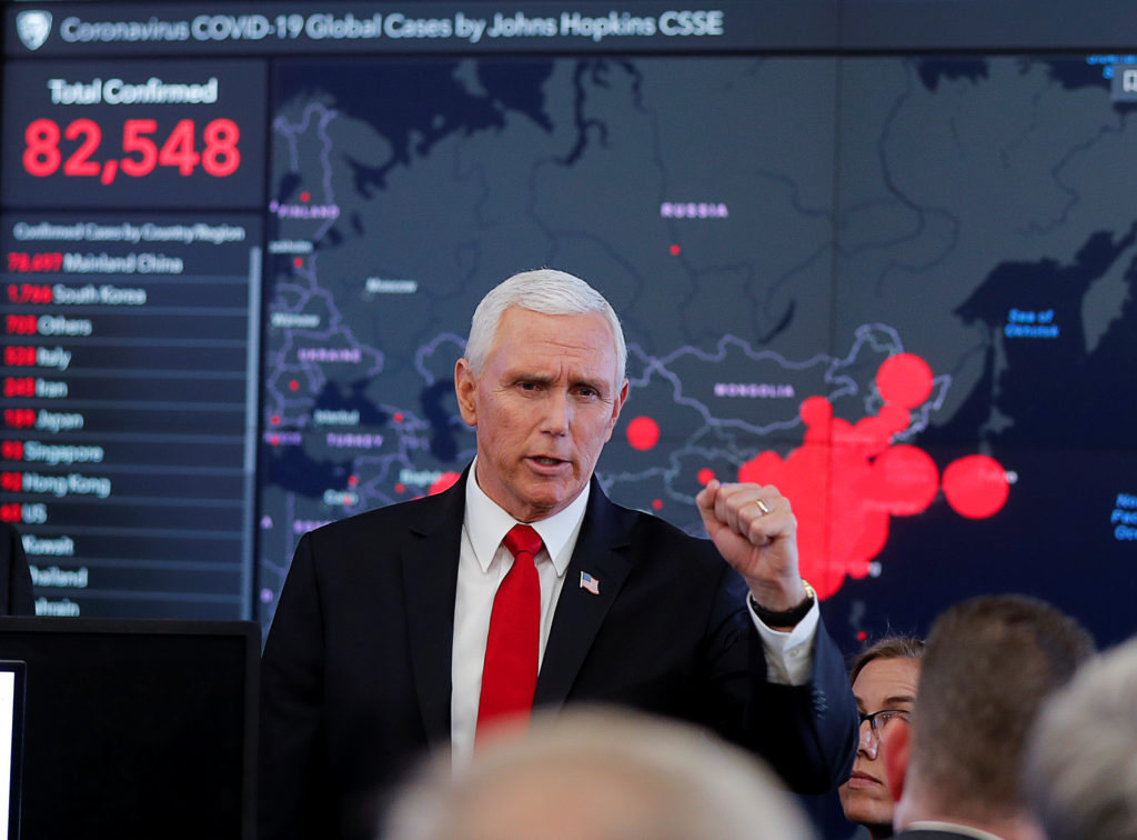 Pence tries to project calm as U.S. virus response coordinator