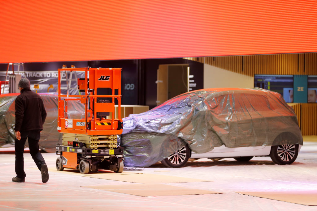 A covered car is pictured at the Palexpo exhibition centre as the 90th edition of the International Motor Show is cancelle...